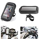 Compatible con Kymco MXU 300 R Soporte para teléfono móvil smartphone Funda de manillar 90423 Lámpara soporte universal para moto scooter y bicicleta 105 x 175 x 35 mm