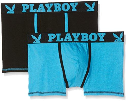 Playboy 40H041 Pantaloncini, Nero (Noir Turquoise/Turquoise FPP), L (Pacco da 2) Uomo