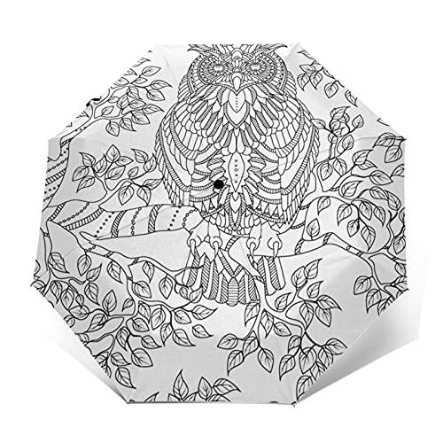 Regenschirm Taschenschirm Kompakter Falt-Regenschirm, Winddichter, Auf-Zu-Automatik, Verstärktes Dach, Ergonomischer Griff, Schirm-Tasche, Erwachsene Eule Malvorlagen