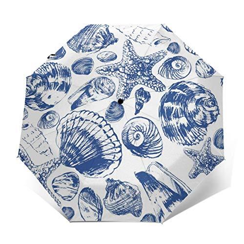 Ombrello subacqueo Paesaggio mare conchiglie antivento compatto per donne uomini viaggio pieghevole ombrello sole