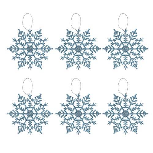 VOSAREA 6pcs Ornamenti Fiocchi di Neve Albero di Natale Appeso Ornamento Fiocco di Neve per La Decorazione della Festa di Natale (Blu)