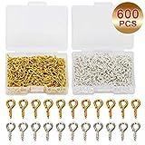 Coolrunner 600Pcs(Silver&Golden) Small Screw Eye Pins, 10mm x 4.5mm Eye pins Hooks, Eyelets Screw Threaded...