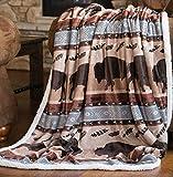 Carstens, Inc Carstens Wrangler Buffalo Southwestern Sherpa Fleece 54x68 Throw Blanket, 54' x 68', Brown