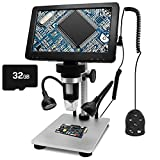 7 inch LCD Screen Digital USB Microscope with 32G TF Card, Micsci 1200X Magnification 12MP 1080P Handheld Camera Video Recorder,Rechargeable Battery,Wired Remote for Coins PCB Soldering Circuit Board