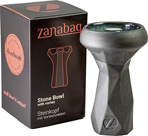 Zanabaq EDGE | Cazoleta Cachimba Piedra | Cabeza Shisha | Tecnología Vortex | Hecho a mano en Alemania | Midnight Colourway