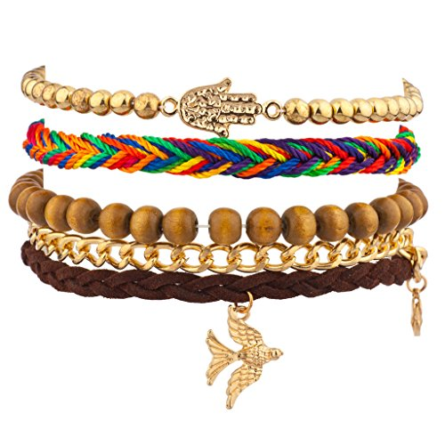 Lux Accessories Dove Bird Hamsa Rainbow Woven Chain Link Arm Candy Bracelet Set