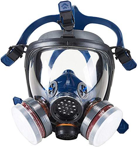 Máscara respiradora de cara completa, máscara de pintura de polvo químico de gas, máscara de seguridad con respirador de vapor orgánico, máscara sas de cara completa con filtro