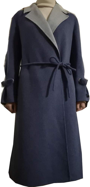 CG Women Long Wool Blend Maxi Walking Coat Notch Lapel Wrap Winter Long Overcoat with Belt G8150