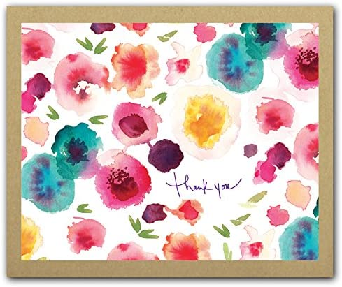 Sprout Bloom Watercolor Floral Print GreenThanks Thank You Notecard Box Set product image