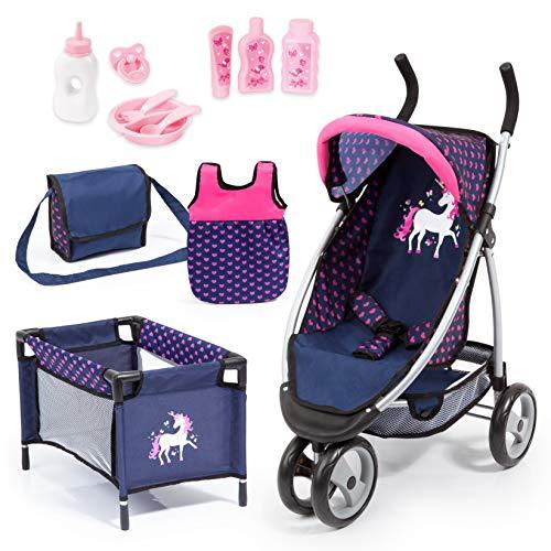 Bayer Design Cochecito Grandes, Carrito para muñeca Jogger Sport, Mega Set con Muchos Accesorios, Cuna de Viaje, Bolso de Bandolera y Mucho más, Color Azul, Rose (39954AC)
