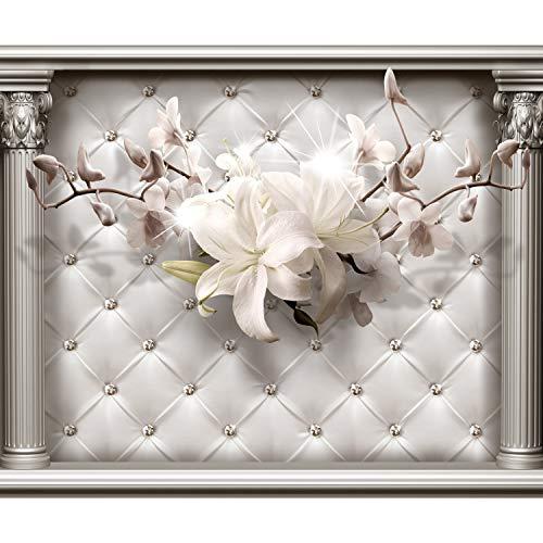 decomonkey | Fototapete Blumen Leder 400x280 cm XL | Tapete | Wandbild | Wandbild | Bild | Fototapeten | Tapeten | Wandtapete | Wanddeko | Wandtapete | Lilien Architektur Abstrakt beige