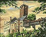 BPAINTF Gemälde nach Zahlen DIY Wartburg Stadt Landschaft Landschaft Zeichnung auf Leinwand Gemälde für Moderne Home Wedding Decor Geschenk 60X75cm DIY gerahmt