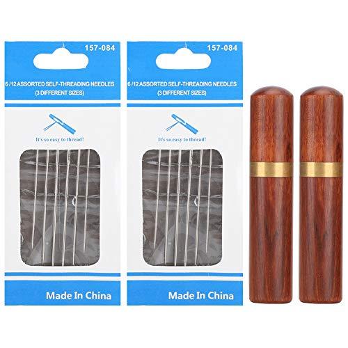Nadelkoffer aus Holz mit Nadeln, 2-teiliger Nadelkasten aus Holz mit 18 teiligen selbstfädelnden Nadeln Verschiedene selbstfädelnde Nähnadeln