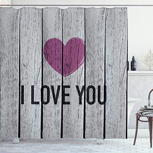 ABAKUHAUS Ich Liebe Dich Duschvorhang, Holzbohlen Rustikal, Waserdichter Stoff mit 12 Haken Set Dekorativer Farbfest Bakterie Resistet, 175 x 200 cm, Fuchsia Hellgrau