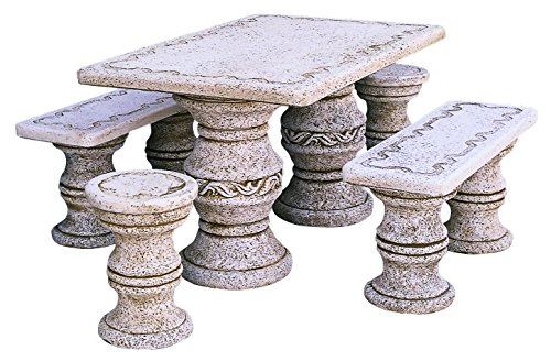conjunto Comedor de Piedra para Jardin Rectangular Milán