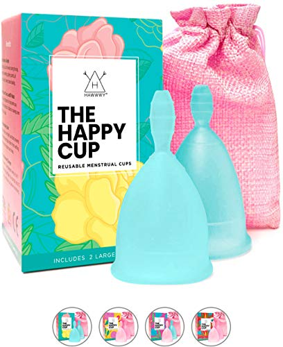 Happy Cup Menstrual Cups, Hawwwy Tampon & Pad Alternative 2 Pack Reusable Beginner, Most Comfortable Period Cup, Best Feminine Alternative, Quality Eco Friendly (Large Teal)