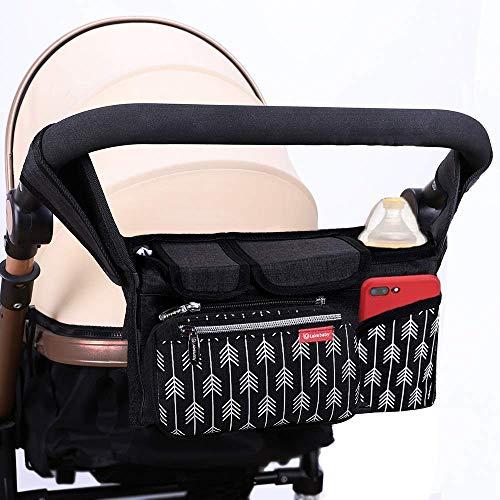 Lekebaby Kinderwagen Organizer Buggy Organizer Kinderwagentasche mit Isoliertem Getränkehalter inkl. Kinderwagenbefestigung, Schwarz