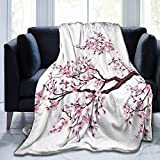 YongColer Soft Cozy Flourishing Sakura Tree Flowers Cherry Blossoms Throw Blanket, Sherpa Plus Velvet Home Blankets Throw Wearable Cuddle, Large Blanket for Bed Couch Sofa Chair Dorm, Adult 60'x80'