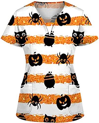 Disfraz de Halloween para mujer, ropa de trabajo, multicolor, calabaza, bruja, diseo de escote en V, manga corta, con dos bolsillos, disfraz de Halloween, A13, 6 1/2 HS