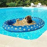 XHXseller Flotador hinchable de dragón para piscina, cola flotante, con agujeros, balsa flotante, piscina, playa, juguete de 140 x 90 cm, No nulo, azul, Tamaño libre