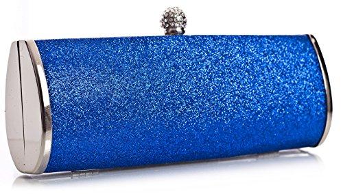 BHBS Pochette da donna alla moda, ideale per matrimoni, feste, serate, misura: 22 x 11 x 5 cm (L x A x P), blu (Bleu - Bleu), Taglia unica