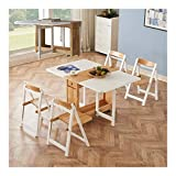 Qilo Mesa de Cocina Sólido 1.35M de Madera Plegable de 4 sillas de Comedor de la Mariposa de la Hoja de Mesas de Gota Mobiliario de Cocina Natural (Color : Wood+White)