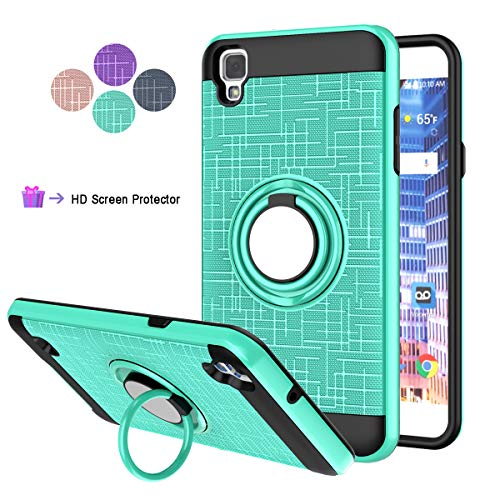 Compatible for LG Tribute HD Phone Case,LG X Style,K200,LS676 Case,LDStars[HD Screen Protector] Shockproof Protective Cover with Rotatable Ring Kickstand Fit Magnetic Car Mount-Mint Green