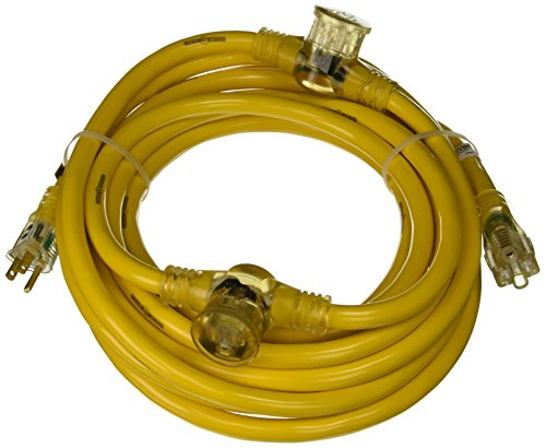 Yellow Jacket 2830 Woods STW Adapter Cord with 3-Outlet Lighted Power Block, 3 12 Awg Bare Conductor, 25 Ft L, Foot, Copper