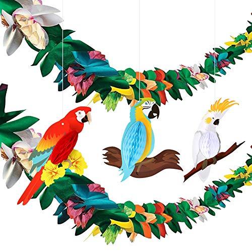 HANGNUO Tropical Parrot Birds Honeycomb and Hawaiian Hibiscus Garland Summer Luau Hanging Party Decoration