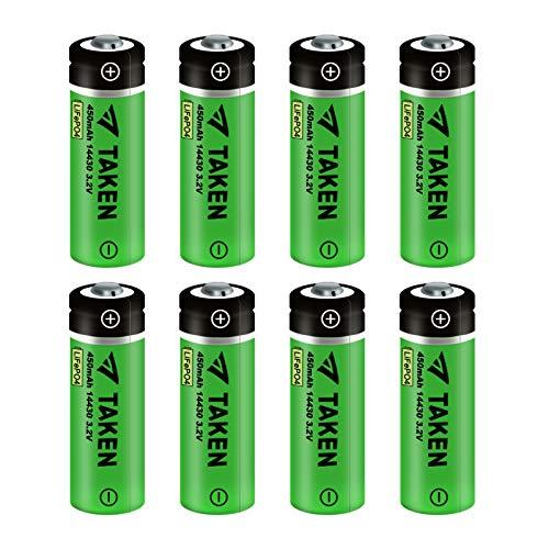 14430 Battery, Taken 14430 3.2V 450mAh LiFePo4 Rechargeable Solar Battery for for Solar Panel Outdoor Garden Lights (8 Pack)