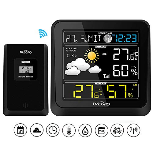 IREGRO Wetterstation Farbdisplay, Wetterstation Funk mit Außensensor, LCD Digital Thermometer Hygrometer für Innen Außen Wettervorhersage, mit Barometer/Mondphase/Nachtlicht/Alarm/Snooze