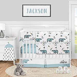 Sweet Jojo Designs Bear Mountain Watercolor Baby Boy Nursery Crib Bedding Set – 5 Pieces – Slate Blue and Black Woodland Animal