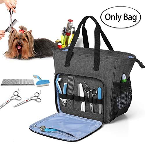 Teamoy Grooming Tasche für Hunde, Hundepflegeset Tasche für Hundepflegeknipser, Klauenpflege, Pflegebürste, Fellpflege Kamm, Shampoos und andere Haustierpflege Zubehörs, Schwarz