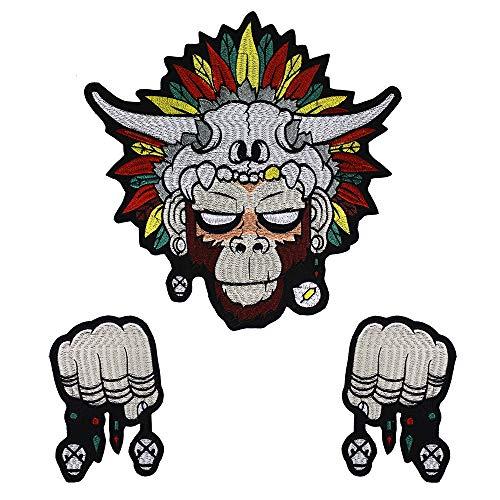Toppa da ricamo etnica a forma di pugno di scimmia, da applicare con ferro da stiro, per vestiti decorati e da cucito, 1 set