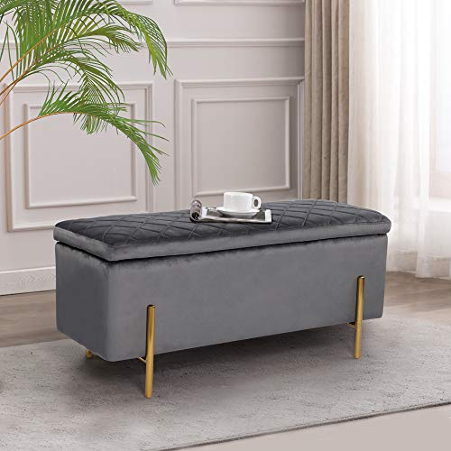 NOBPEINT 43 inches Velvet Storage Ottoman Bench, Upholstered Bed End Bench Storage Chest with Metal Legs, Gray