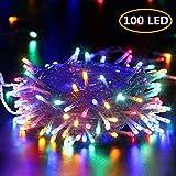 Guirlande Lumineuse 10M 100 LED BrizLabs Multicolore Lumières de Noël Intérieur Batterie, 8 Modes Etanche avec Minuterie Fairy Lights pour Décoration Maison, Fête, Noël, Mariage, Câble Transparent