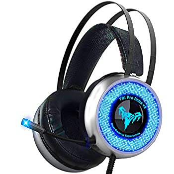TBI Pro V8 IMBA Gaming Headset with 50MM High-End Dynamic Comfy Earmuffs LED Adjustable Microphone Mute and Volume Control for XboxOne 360 S PS3 PS4 PC Nintendo Laptop