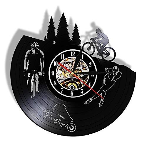 Gtllje Bicicleta Disco de Vinilo Vintage Reloj de Pared silencioso Reloj Colgante de Pared Reloj Motorista Patinador Amante de los Deportes decoración de Regalo 30x30 cm
