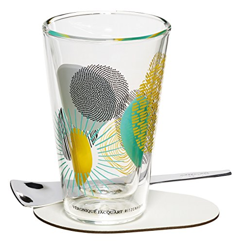 Ritzenhoff A Cuppa Day Macchiatoglas, Glas, schwarz/weiß/blau/orange/türkis, 8.3 cm