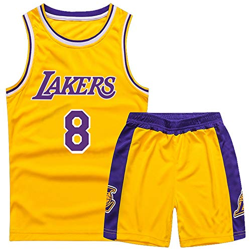 Gofei Kinder Basketball Weste und Shorts Lakers 8# Bryant Basketball Trikots Basketballuniform Basketball Anzug Basketballhemd Swingman Jerseys