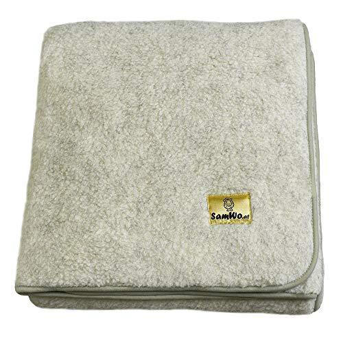 SamWo, Natur-Fell-Shop - Manta (100% lana de merino, 200 x 140 cm), color gris claro