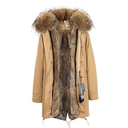 Jsix Cappotto Invernale da Donna Cappuccio con Pelliccia Caldo Cappotto Lungo Giacche Soprabito Parka Outwear (M, Color 7)