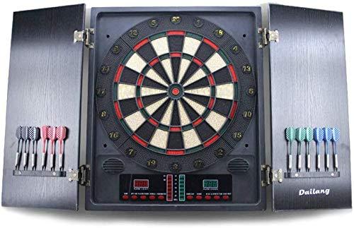 LIUXR Diana electrónica con Madera Puertas, para un hasta 8 Jugadores, Pantalla LED, Incluye línea de Tiro, 12 Dardos, Adecuada para Fiestas, Unisex Adulto,Black