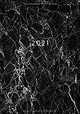2021: ENE - DIC Agenda Semanal | Tamaño A5 | 1 Semana en 2 Páginas | Planificador Mensual Calendario Semana Vista Planner Organizador Anual | Mármol Negro