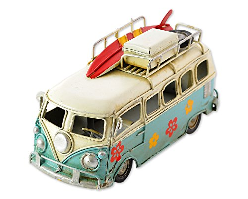 SCSpecial Retro Metal Camper Van 6.3 Inches Classic VW T1 Beach Bus Toy Modelo - Azul