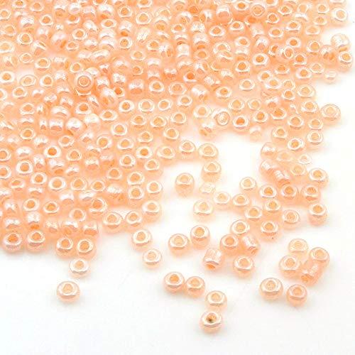 3300 Stück Glas Rocailles Perlen 3mm Ceylon, 7 Farben, 8/0, Pony Perlen, Ceylon gelüstert, Silky Seed Beads, Farbauswahl (Lachs)