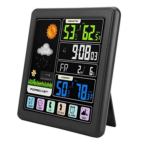 TS-3310 LCD-weerklok, draadloze atoomklok met kleurentouchscreen, meertalig display/twee oplaadopties/wekker voor kinderen (B)