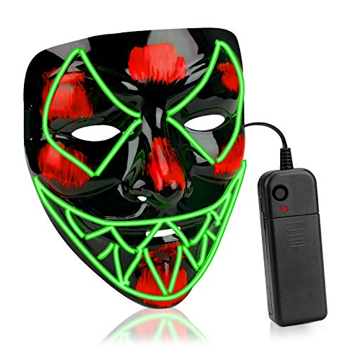 AnseeDirect Mascara Halloween Venom Cosplay Led Disfraz Máscara Terror El Wire Light Up Power Purge Mask para Fiestas Festival Fiesta De Disfraces Navidad