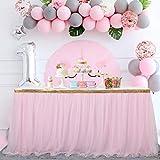 Pink Tulle Table Skirt Tutu Table Skirt for Rectangle Tables Baby Shower Girl Unicorn Party Wedding Princess Birthday 6ft