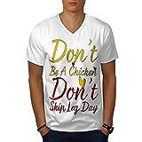 Wellcoda Jambe journée Actif Gym Sport Homme T-Shirt à col en V Jambe T-Shirt Graphique